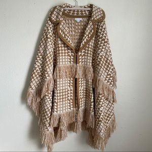 new york & company knit poncho sweater wrap fringe